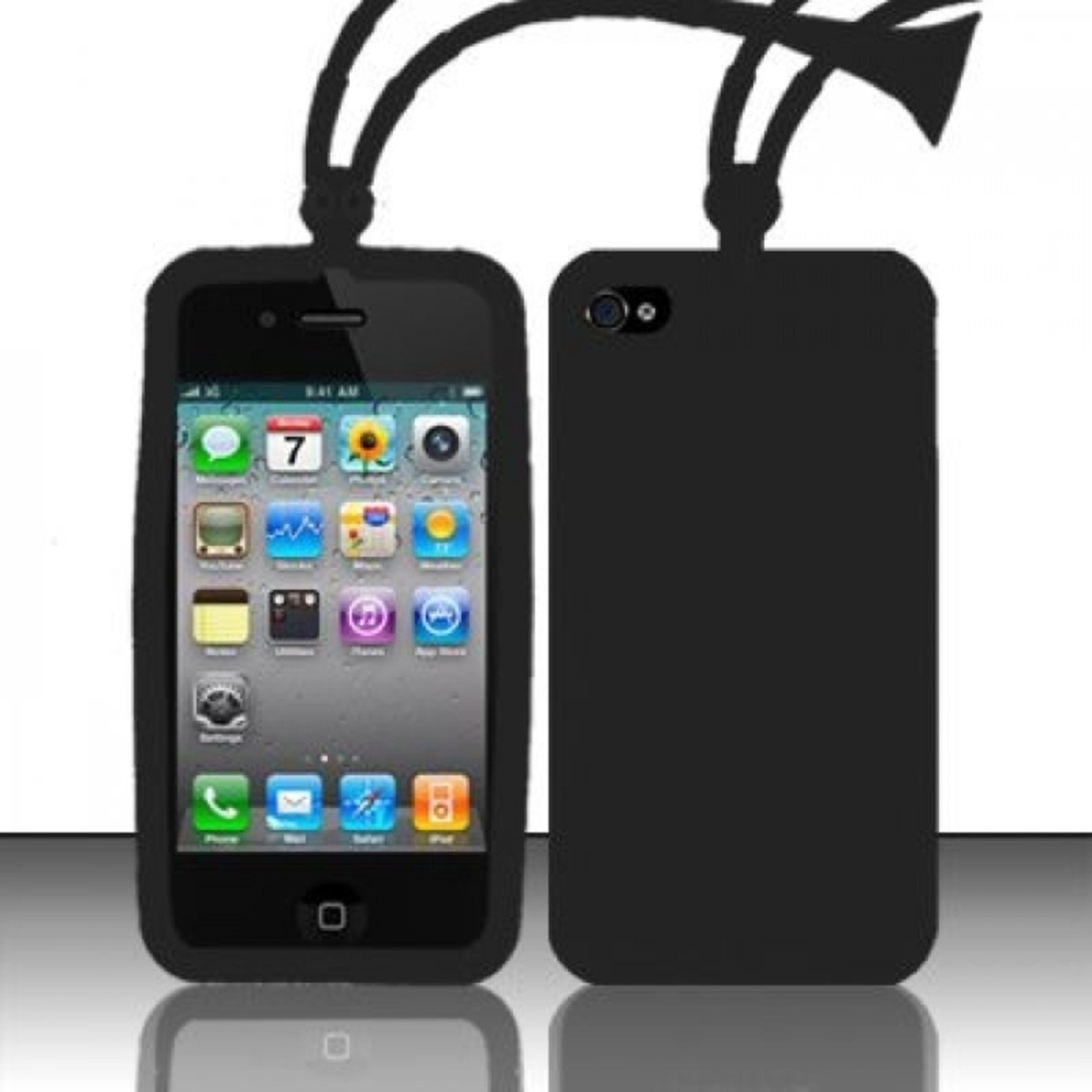 Insten Black Ant Style Silicone Soft Skin Case Cover For Apple iPhone 4/4S