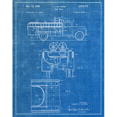 Original Fire Truck Artwork Submitted In 1950 - Fire and Rescue - Patent Art -