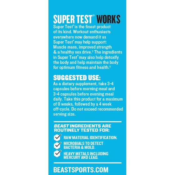 28791cf5 Beast Sports Nutrition Super Test Test Booster Capsules, 180 Ct -  Walmart.com