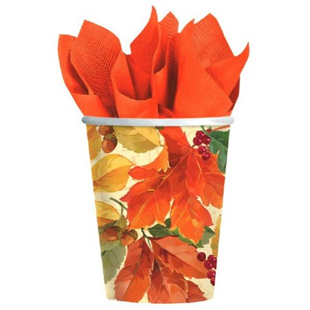 Elegant Leaves 8 9 oz Paper Hot Cold Cups Fall Thanksgiving
