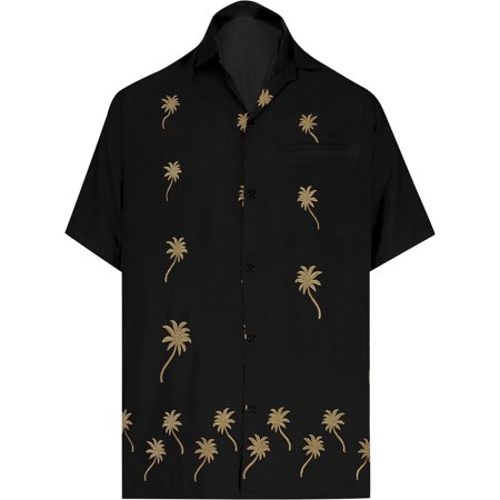 Men's Woven Hawaiian Beach Swim Casual Button Down Gifts Front Pocket Short Sleeve Camp Shirts Embroidered Rayon Collared Black Fathers Day Gifts Spring Summer 2017 Embroidered Button Front Shirt