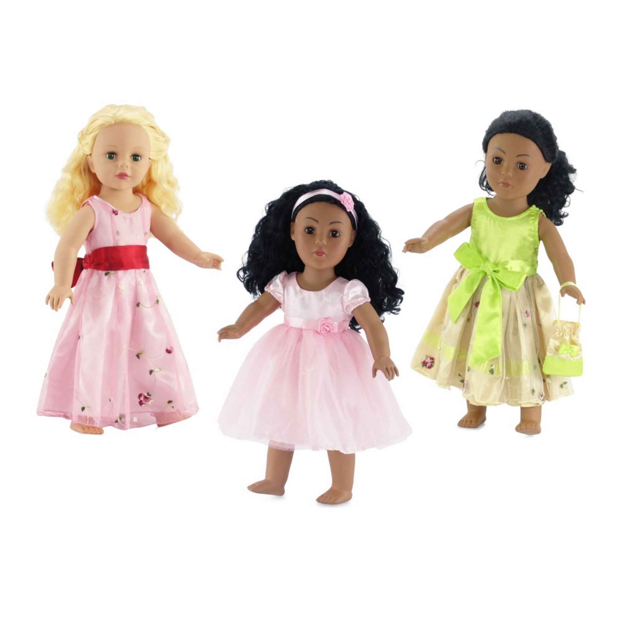 18-inch Doll Clothes | Value Bundle - Set of 3 Doll Dresses, Including Pink Dress with Sash, Green Floral Dress with Purse, and Lovely Pink Tutu Dress with Matching Headband | Fits American Girl Dolls
