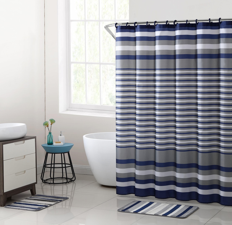 Mainstays Blue Berkshire Stripe 15-Piece Shower Curtain Bath Set