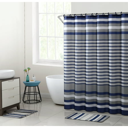 Mainstays Blue Berkshire Stripe 15-Piece Shower Curtain Bath Set
