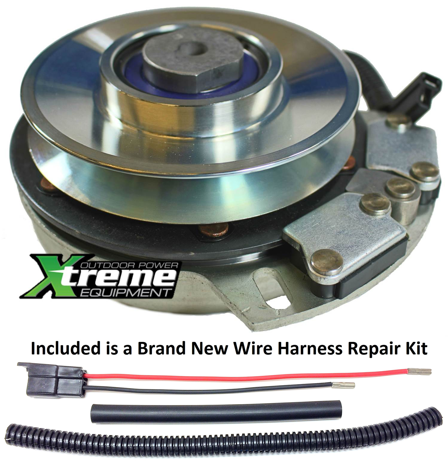 Bundle - 2 items: PTO Electric Blade Clutch, Wire Harness Repair Kit.  Replaces 120786 Lawn Mower PTO Blade Clutch - w/ Wire Harness Repair Kit !
