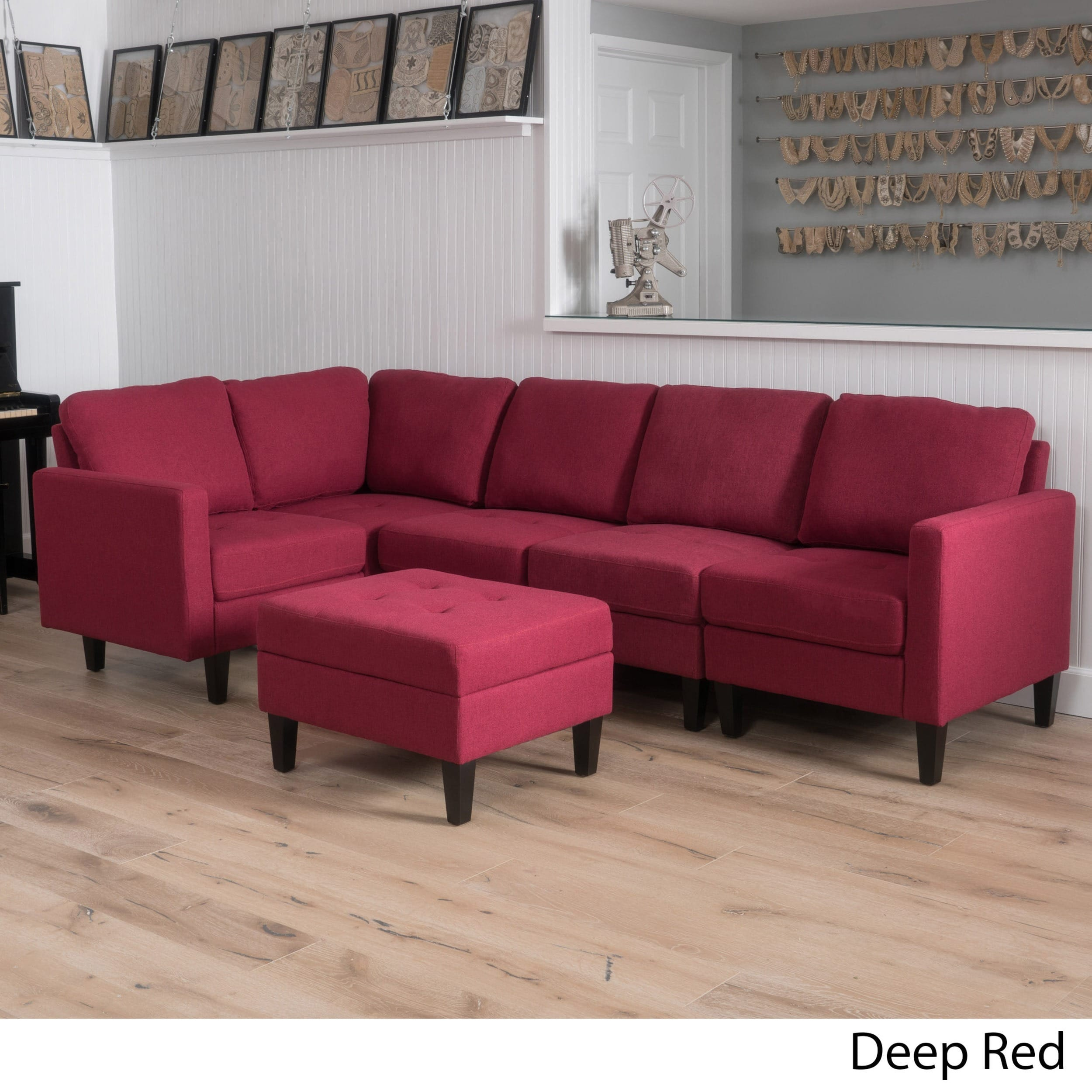 Christopher Knight Home Zahra 6-piece Fabric Sofa Sectional with Storage Ottoman by
