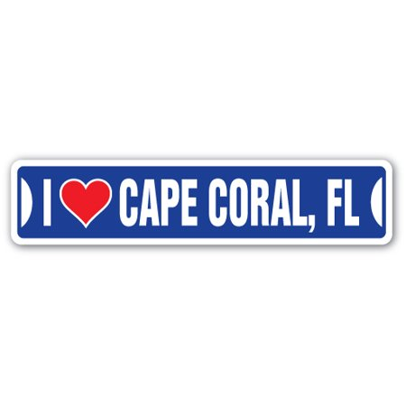 Party City Coral Way (I LOVE CAPE CORAL, FLORIDA Street Sign fl city state us wall road décor)