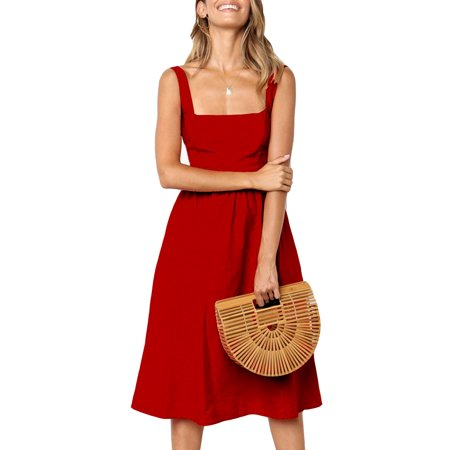 Womens Simple Strap Square Neck Sling Dress Backless Sexy Party Swing Midi Summer Off Shoulder Tunic Swing Sundress