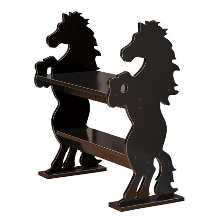 Simple Wooden Bench (Wooden Silhouette Horses Sitting Bench with Shelf Western Decor - Perfect for Entryway, Living Room, or Bedroom)