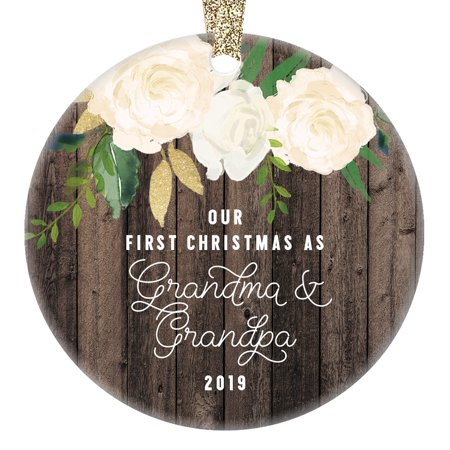 """Our First Christmas as Grandma & Grandpa Ornament 2019, New Grandparents Gift for Grandmother & Grandfather, Present 3"""" Flat Circle Porcelain Ceramic with Gold Ribbon & Free Gift Box 