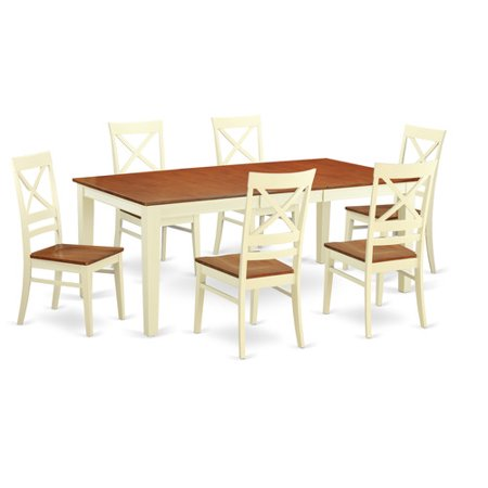 QUIN7 WHI W 7 Piece Formal Dining Room Set Dining Table And 6 Dining Chairs