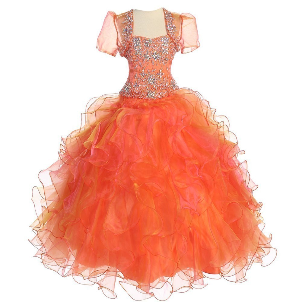 Little Girls Orange Crystal Ruffle Ball Pageant Dress 3T-6