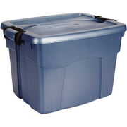 Rubbermaid Roughneck Latching Tote, 22 Gal, Blue, Set of 9