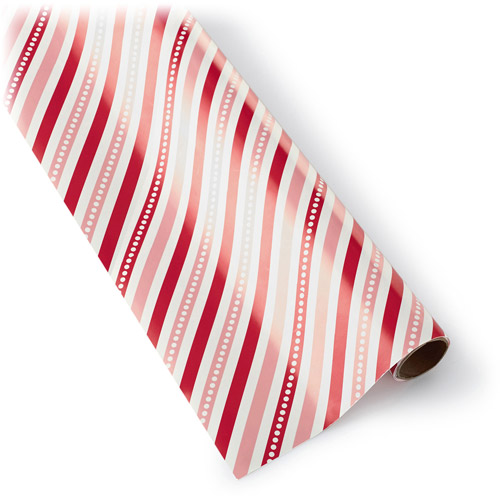 Hallmark Red and Pink Striped Mini Roll Wrap