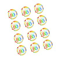CakeSupplyShop Item#RE3-081 Happy 80th Birthday 3inch Rainbow Edible Cupcake / Cookie Frosting Image Toppers -12ct