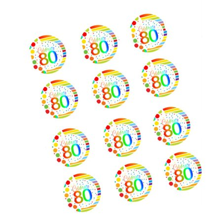 CakeSupplyShop Item#RE3-081 Happy 80th Birthday 3inch Rainbow Edible Cupcake / Cookie Frosting Image Toppers -12ct ()
