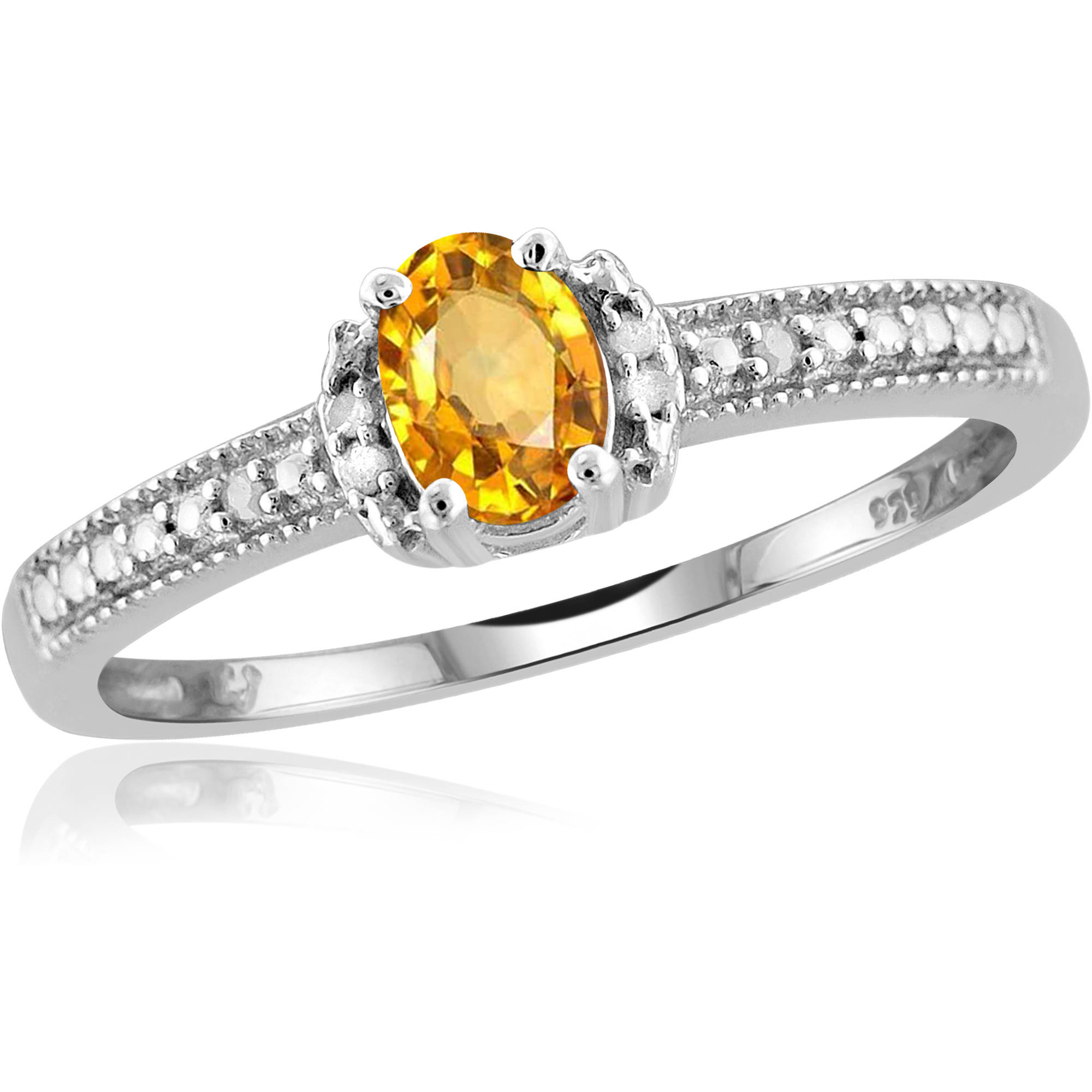 JewelersClub 0.46 Carat T.G.W. Citrine Gemstone and 1/20 Carat T.W. White Diamond Ring