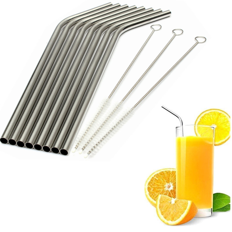 "8 Pcs Metal Drinking Stainless Steel Bend/Straight Straws + 3 Cleaner Brush Kit(8.5"" Long)"