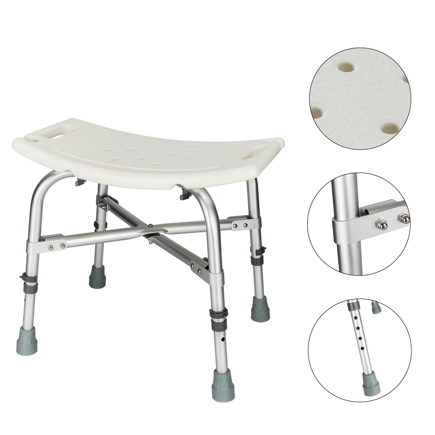 Ktaxon Adjustable Bath Chair Medical Shower Stool Heavy-duty Bathtub Chair Bath Bench Without Back