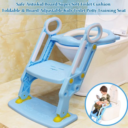 Potty Step Stools Non-Slip Kids Foldable Toilet Potty Soft Padded Seat Step Up Training Stool Chair Toddler Ladder Antiskid Board ()