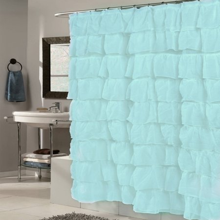Elegant Crushed Voile Ruffled Fabric Tier Shower Curtain, 70