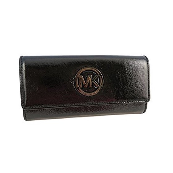 470d96c8d658 Michael Kors - Michael Kors Fulton Black Patent Leather Flap Continental  Wallet (Black) - Walmart.com