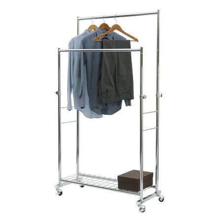 Seville Classics Commercial Double Rod Garment Rack (Double Row Rack)