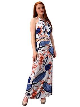 fe055c02ebd7c Product Image Peach Couture Floral Print Cut Out Waist Side Slit Crochet  Tie Back Maxi Dress