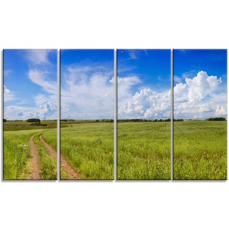 Design Art 'Road in Field with Green Grass' Photographic Print Multi-Piece Image on Canvas