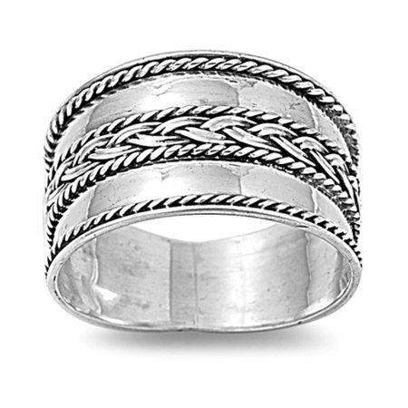 Braided Bali Wide Band .925 Sterling Silver Ring Sizes 6-12 Design Wide Band Ring