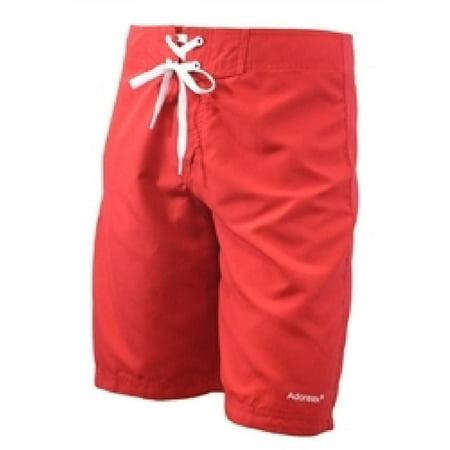 Adoretex Men's Swim Trunk Beach Board Shorts Swimsuit (M0008) - Red -