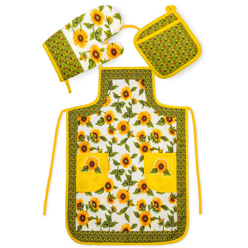 Crover Chef's 3 Piece Cotton Yellow Sunflower Kitchen Set