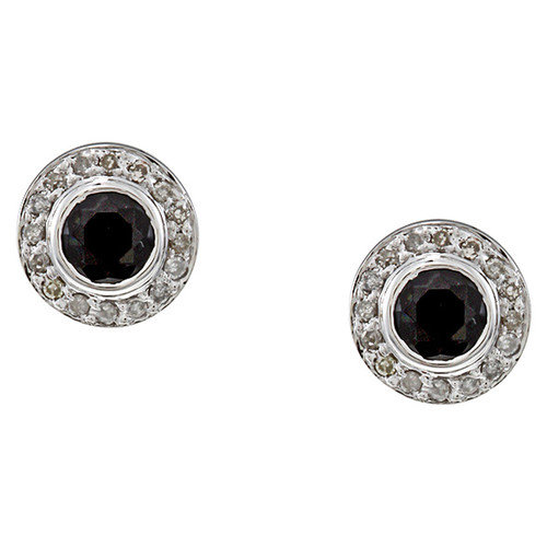 Designer Diamonds Round Cut Sapphire and Diamond Stud Earrings