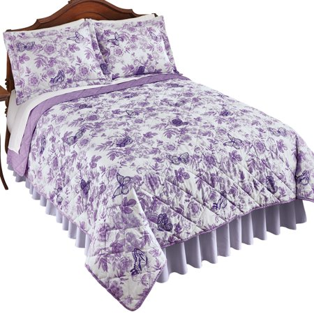 Lilian Lavender Floral Reversible Quilt with Butterflies, Reverse Side is Solid - Spring Bedroom Decor ()