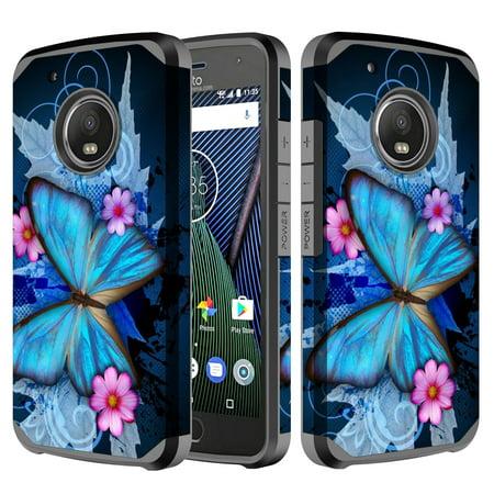 Motorola Moto G5 Plus Case, Moto G (5th Gen) Slim Hybrid [Shock/Impact Resistant] Dual Layer Protective Case Cover - Blue