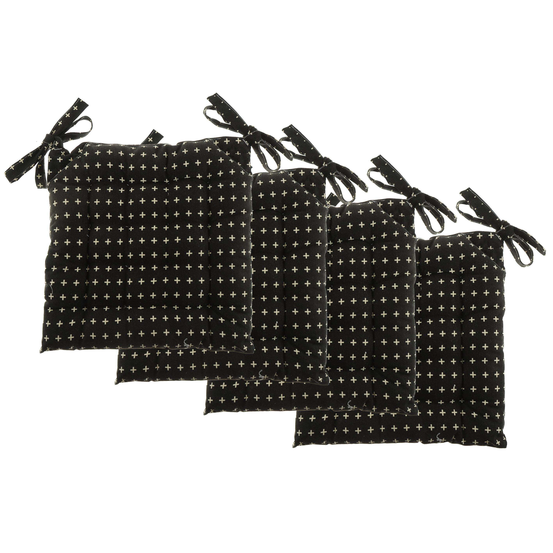 "Unity Chair Pads - Cotton Canvas - Value 4 Pack - Fits 15"" Chair - Cross Stitch - Classic Design (Black)"
