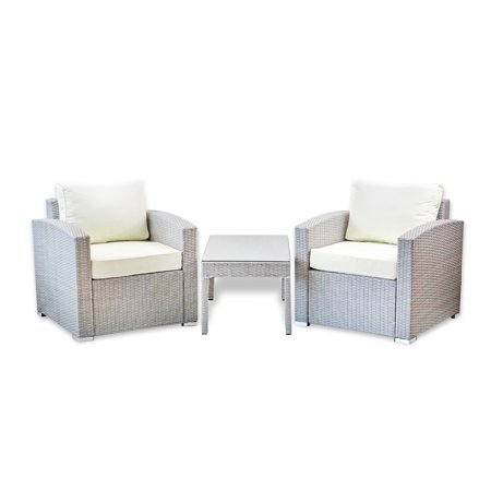 Patio Outdoor Set of 2 Chair Resin Wicker Garden Furniture and Coffee Table Yard Modern Design, Gray ()