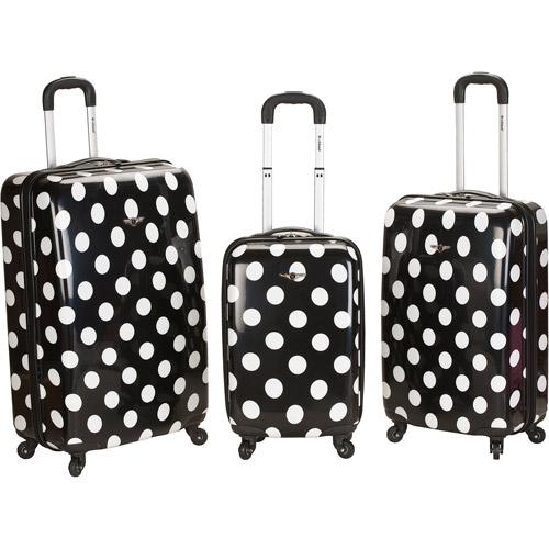 Rockland Luggage 3-Piece Laguna Beach ABS Spinning Luggage Set, Black Dot
