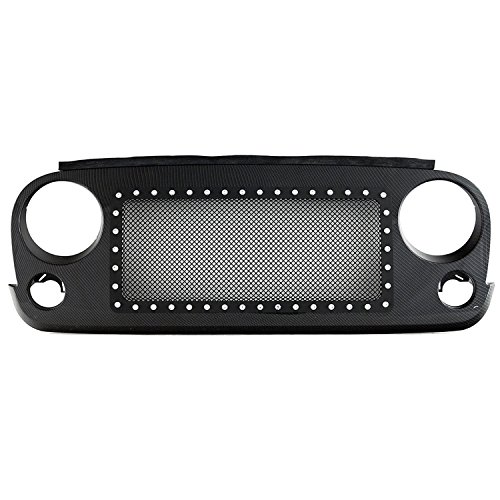 Paramount Restyling 46-0230CF Black Mesh Carbon Fiber Shell Stainless Steel Evolution Wire Mesh Packaged Grille (Jeep Wrangler)