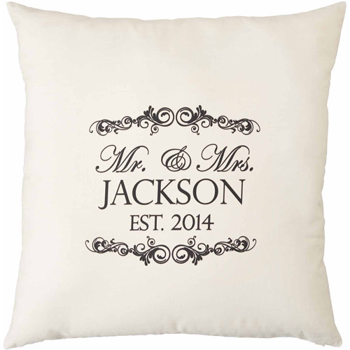 "Personalized Mr. and Mrs. Natural Throw Pillow, 15"" x 15"""