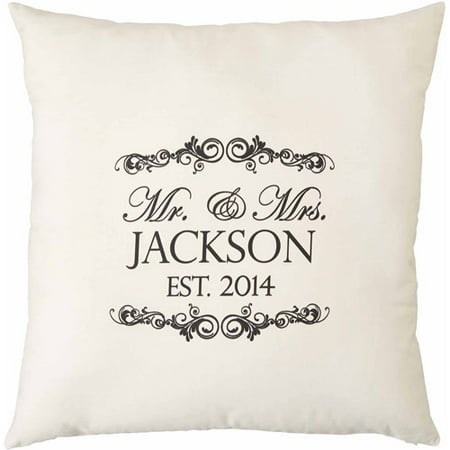 Mr & Mrs Pillows (Personalized Mr. and Mrs. Natural Throw Pillow, 15