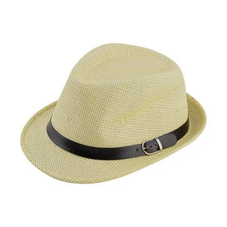 Stylish Hat Summer Straw Hat Cap Topee Fedora Trilby Panama Hat Cap Jazz Hat - image 5 de 8