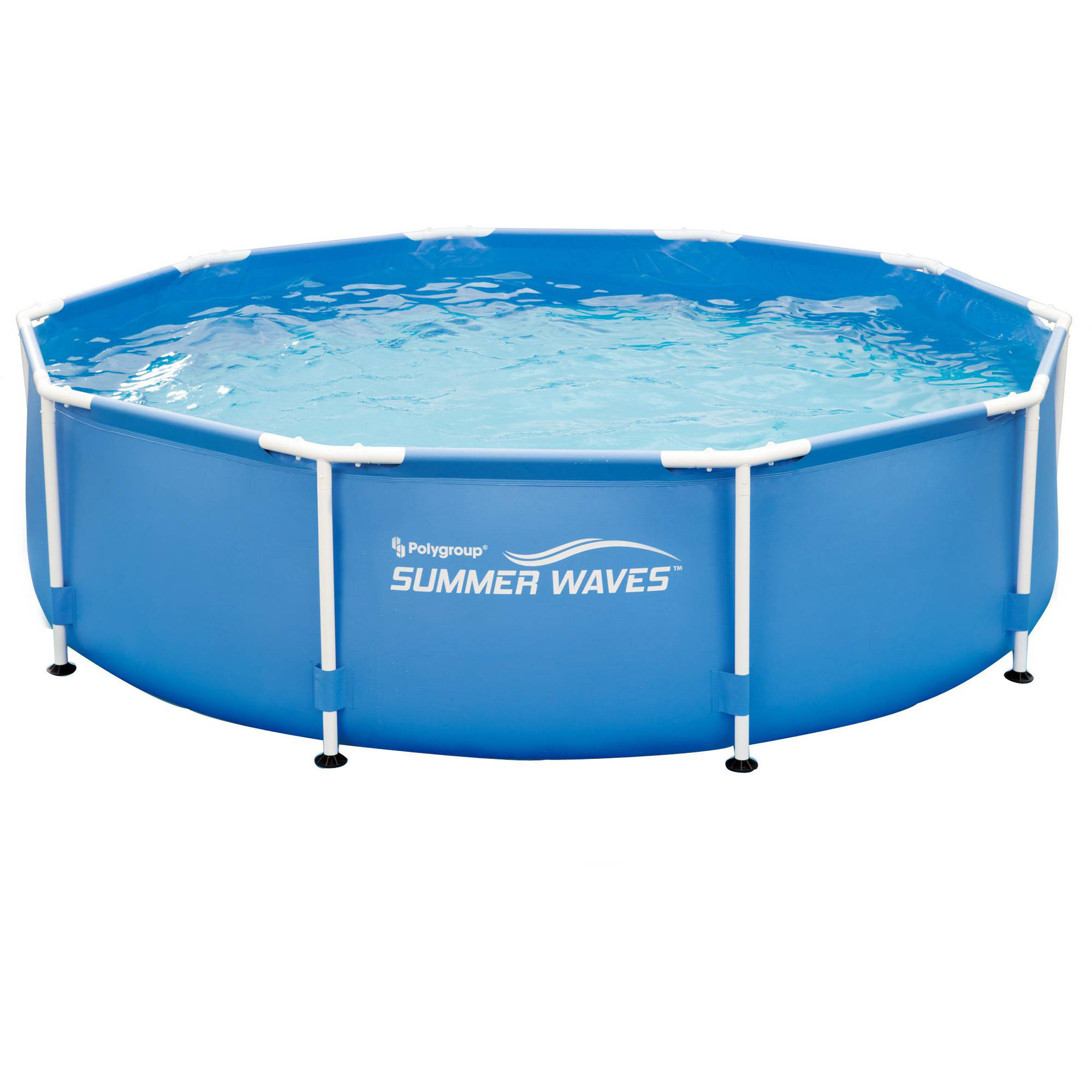 Summer swimming pool above ground round metal frame family for Ground swimming pools