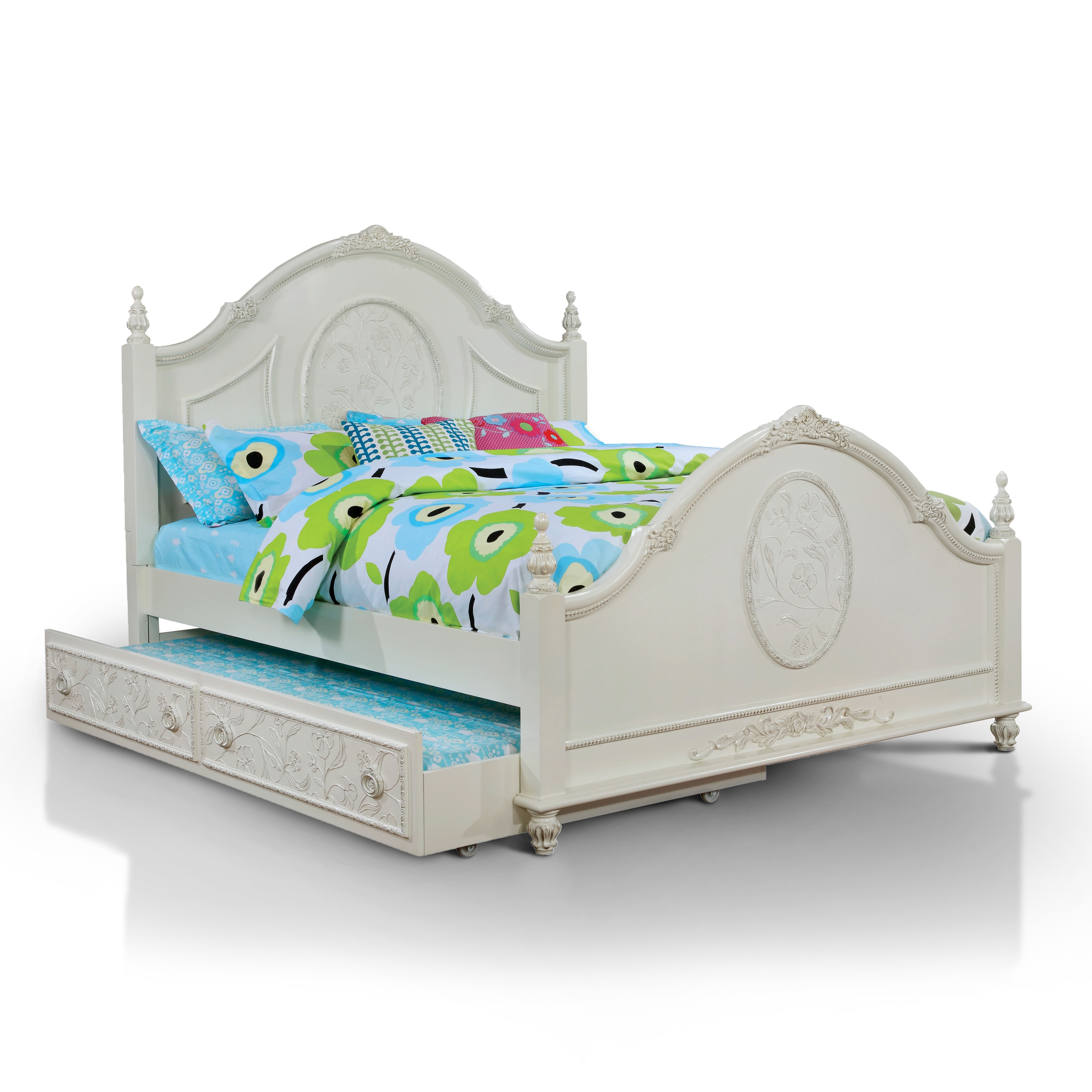 Furniture of America  Margie Traditional Elegant Fairy Tale Style Floral Poster Bed with Trundle Full Size