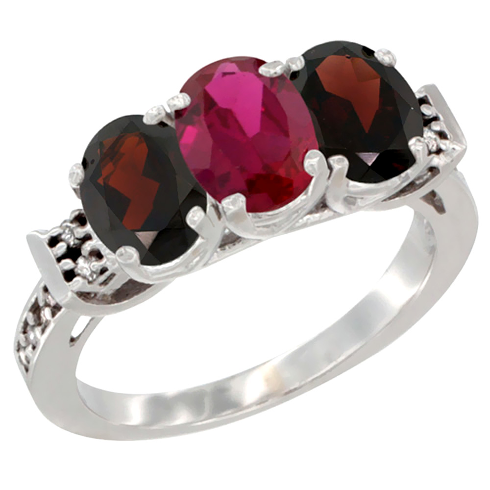 10K White Gold Enhanced Ruby & Natural Garnet Sides Ring 3-Stone Oval 7x5 mm Diamond Accent, sizes 5 10 by WorldJewels
