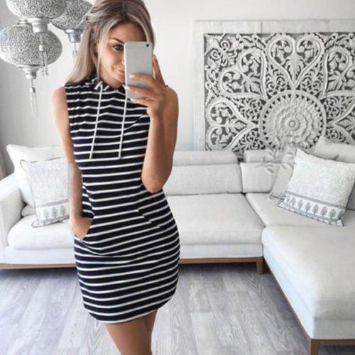 260ddbfb12b Women Sleeveless Tank Dress Hoody Tops Blouse Tee Shirt Mini Dresses ...