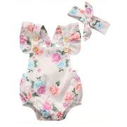 Newborn Infant Baby Girl Floral Romper Summer Jumpsuit Sunsuit Outfit Clothes