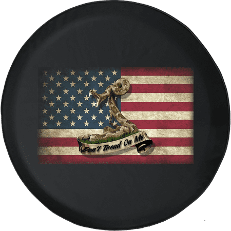 American Flag USA Don't Tread on Me Snake Spare Tire Cover fits Jeep RV & More 28 Inch Designer Tire Cover Flag