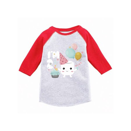 Awkward Styles Birthday Gift Raglan Jersey Shirts for Boys Marshmallow Shirts for Girls Themed Party for 2 Year Old Children Birthday Shirt Birthday Gifts for 2 Year Old Birthday Party 2nd