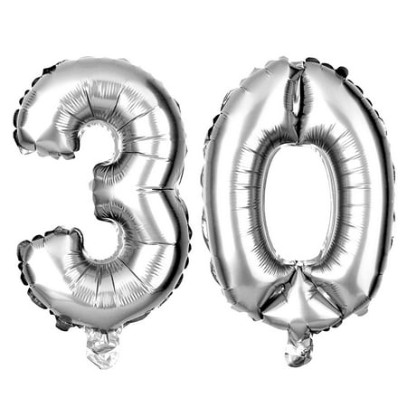 30 Large Balloons for Birthday or Anniversary Party, Number Decorations (40 Inch, Silver) (30 Birthday)